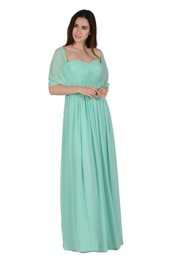 Gray Long Convertible Chiffon Dress by Poly USA-Long Formal Dresses-ABC Fashion