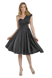 Gray Short Convertible Jersey Dress by Poly USA-Short Cocktail Dresses-ABC Fashion