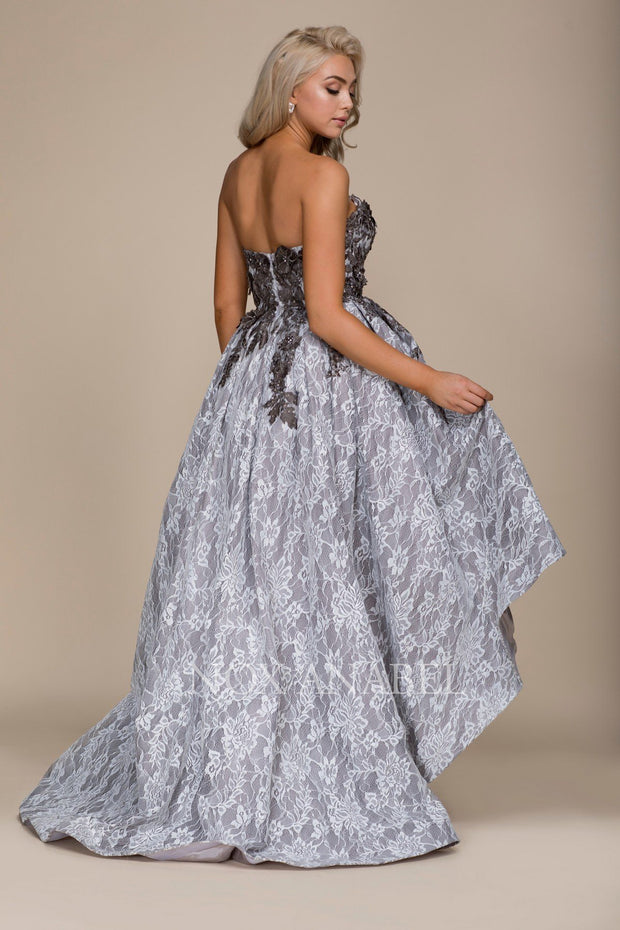 Gray Strapless High Low Dress with Appliqued Top by Nox Anabel E013-Long Formal Dresses-ABC Fashion