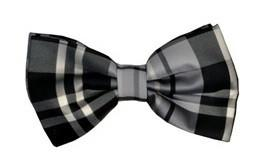 Gray/Black Plaid Bow Ties with Matching Pocket Squares-Men's Bow Ties-ABC Fashion