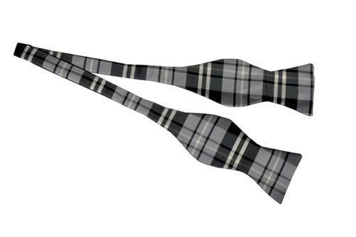 Gray/Black Self Tie Plaid Bow Ties-Men's Bow Ties-ABC Fashion