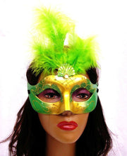 Green and Gold Masquerade Masks with Feathers-Masquerade Masks-ABC Fashion