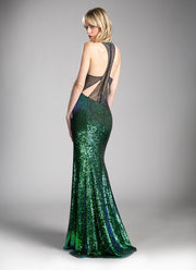 Green Long Sequin V-Neck Dress with Slit by Cinderella Divine CR809-Long Formal Dresses-ABC Fashion