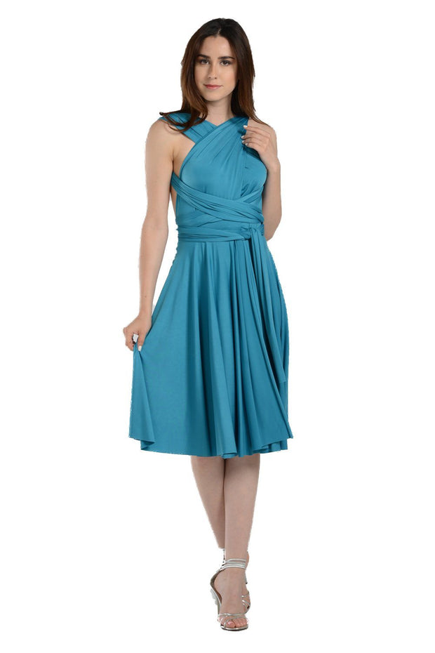 Green Short Convertible Jersey Dress by Poly USA-Short Cocktail Dresses-ABC Fashion