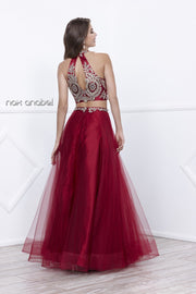 Halter Crop Top Dress with Beaded Embroidery by Nox Anabel 8205-Long Formal Dresses-ABC Fashion