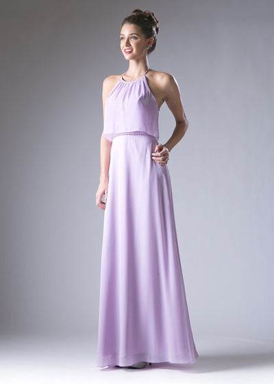 Halter Double Layer Evening Dress by Cinderella Divine CH523-Long Formal Dresses-ABC Fashion