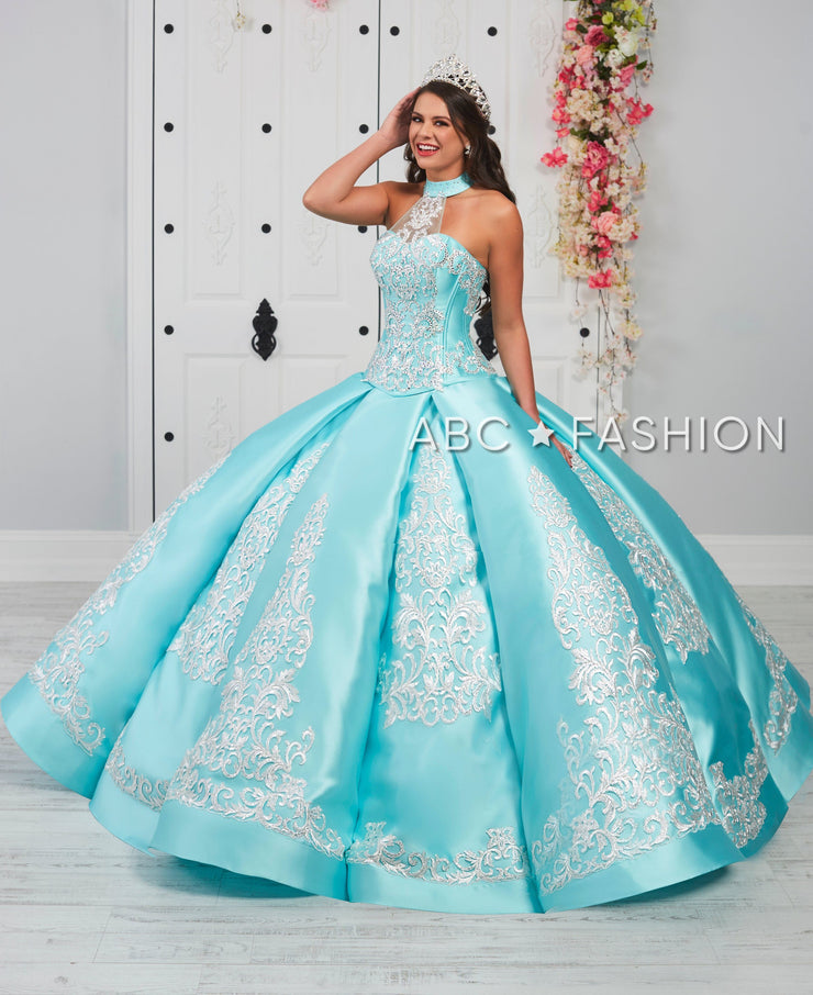 Halter Embroidered Quinceanera Dress by LA Glitter 24057-Quinceanera Dresses-ABC Fashion