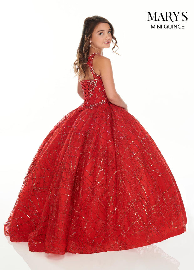 Halter Glitter Quinceanera Dress by Mary's Bridal MQ2103