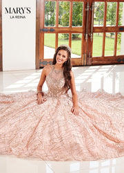Halter Glitter Quinceanera Dress by Mary's Bridal MQ2103-Quinceanera Dresses-ABC Fashion