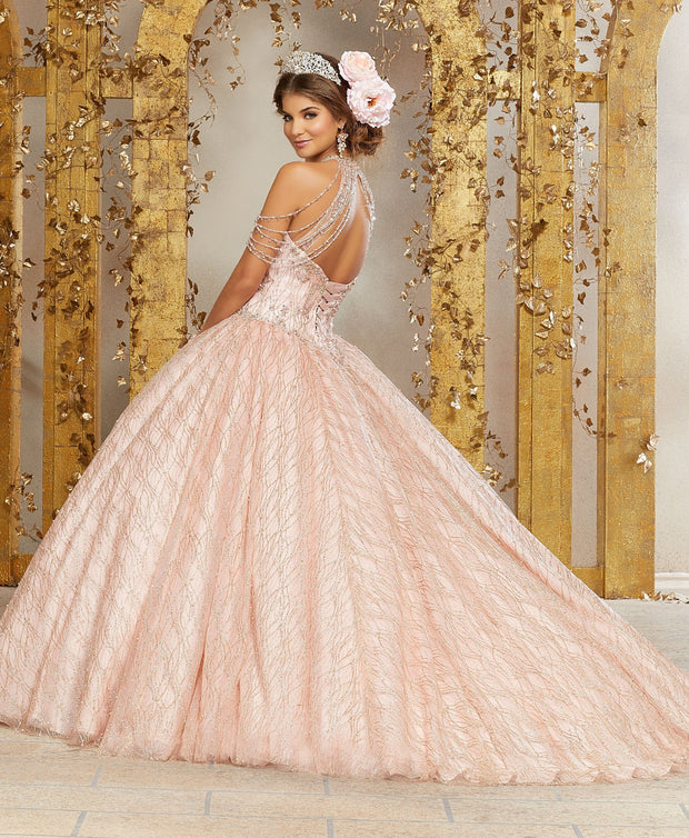 Halter Glitter Quinceanera Dress by Mori Lee Vizcaya 89221-Quinceanera Dresses-ABC Fashion