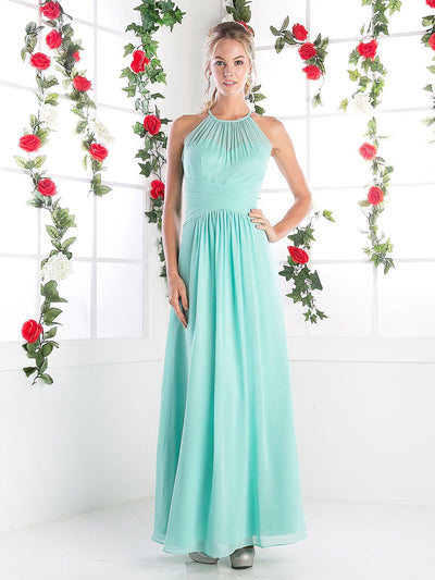 Halter Overlay Evening Dress by Cinderella Divine CH1501-Long Formal Dresses-ABC Fashion