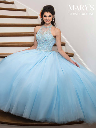 Halter Tulle Quinceanera Dress by Mary's Bridal MQ1016-Quinceanera Dresses-ABC Fashion