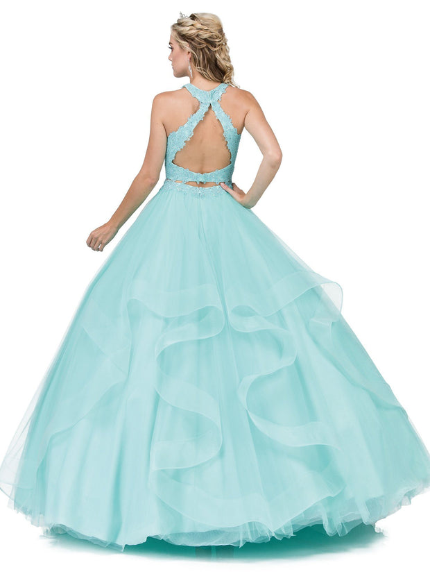 Halter Two Piece Ball Gown with Lace Top by Dancing Queen 1310