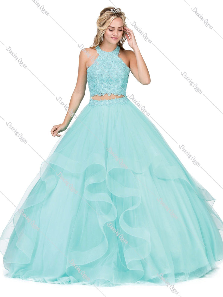 Halter Two Piece Ball Gown with Lace Top by Dancing Queen 1310-Quinceanera Dresses-ABC Fashion
