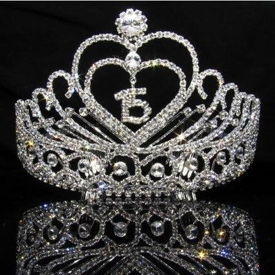 Heart Quinceanera Tiara with Clear Stones - T097-Quinceanera Tiaras-ABC Fashion