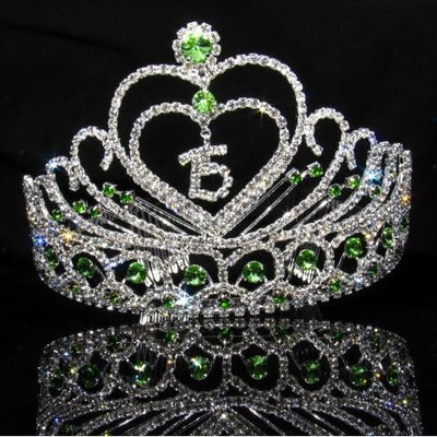 Heart Quinceanera Tiara with Green Stones - T100-Quinceanera Tiaras-ABC Fashion