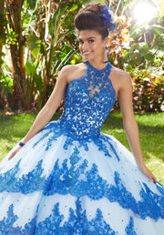 High Neck Applique Quinceanera Dress by Mori Lee Valentina 34014-Quinceanera Dresses-ABC Fashion