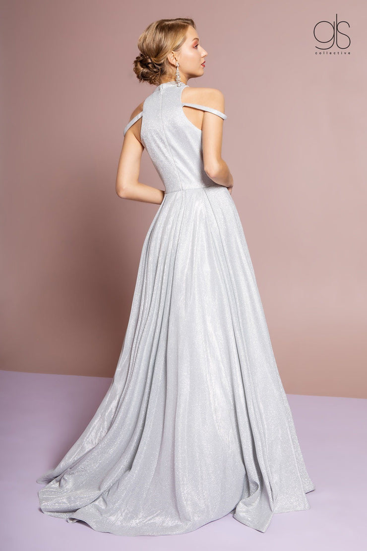 High Neck Cold Shoulder Glitter Crepe Gown by Elizabeth K GL2664-Long Formal Dresses-ABC Fashion