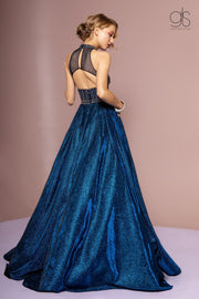 High Neck Evening Gown with Glitter Skirt by GLS Gloria GL2631-Long Formal Dresses-ABC Fashion
