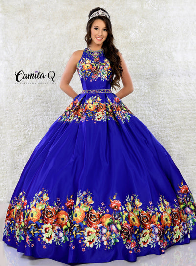 High Neck Floral Print Quinceanera Dress by Camila Q Q17041-Quinceanera Dresses-ABC Fashion