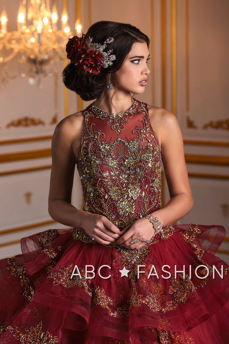 High-Neck Gold Applique Quinceanera Dress by House of Wu 26933-Quinceanera Dresses-ABC Fashion
