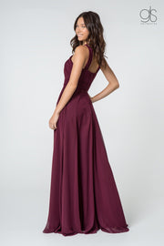 High-Neck Long A-Line Chiffon Dress by Elizabeth K GL2816-Long Formal Dresses-ABC Fashion