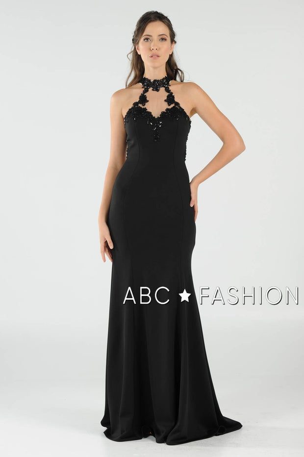 High-Neck Mermaid Dress with Lace Appliques by Poly USA 8172-Long Formal Dresses-ABC Fashion
