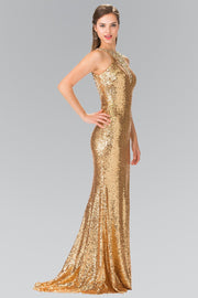 High Neck Sequined Dress with Open Back by Elizabeth K GL2301-Long Formal Dresses-ABC Fashion