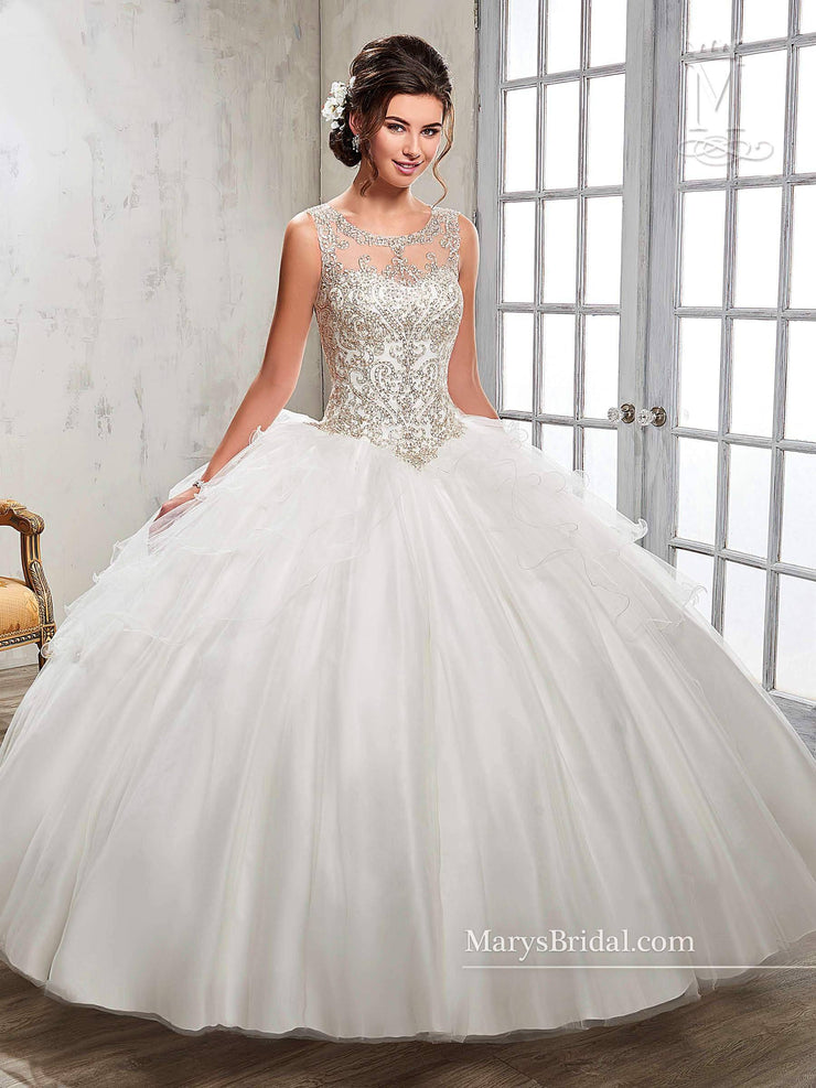 Illusion A-line Quinceanera Dress by Mary's Bridal Princess 4Q510-Quinceanera Dresses-ABC Fashion