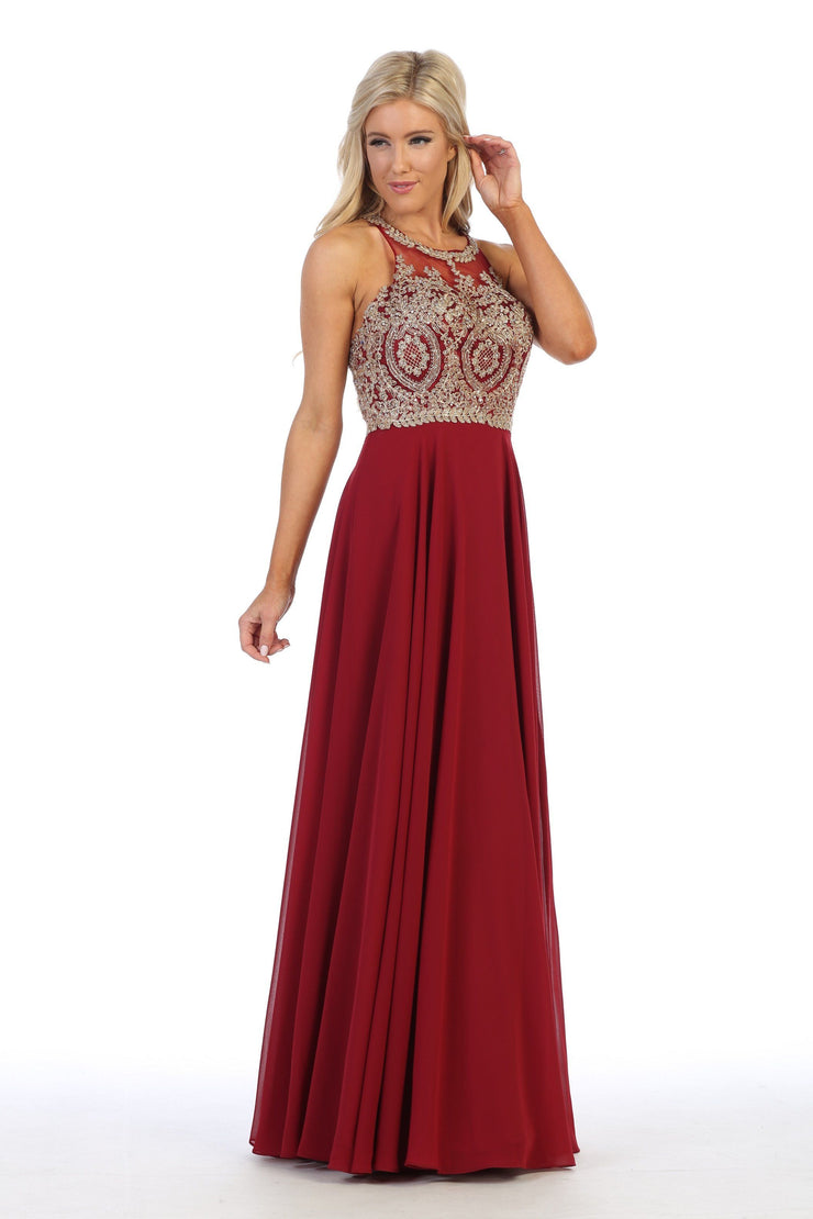 Illusion Applique Long Dress with Strappy Back by Celavie 5021L-Long Formal Dresses-ABC Fashion