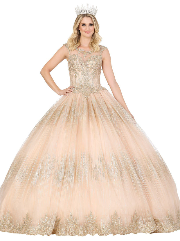 Illusion Cap Sleeve Glitter Ball Gown by Dancing Queen 1535