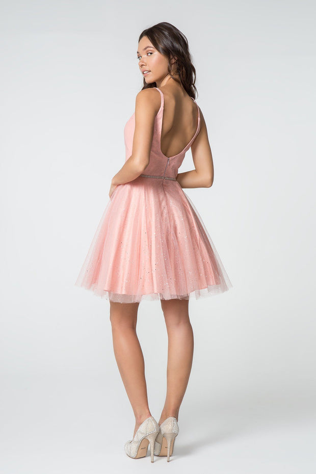 Illusion Deep V-Neck Short Glitter Dress by Elizabeth K GS2865-Short Cocktail Dresses-ABC Fashion