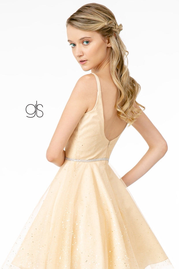 Illusion Deep V-Neck Short Glitter Dress by Elizabeth K GS2865