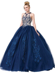 Illusion Halter Ball Gown with Embroidery by Dancing Queen 1392