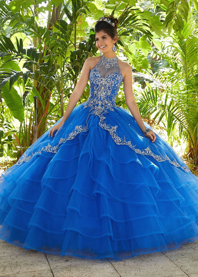 Illusion Halter Quinceanera Dress by Mori Lee Valencia 60098-Quinceanera Dresses-ABC Fashion
