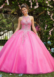Illusion Halter Quinceanera Dress by Mori Lee Vizcaya 89266-Quinceanera Dresses-ABC Fashion