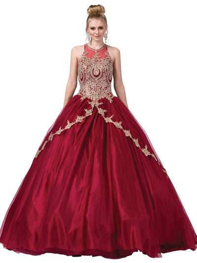 Illusion High-Neck Ball Gown with Appliques by Dancing Queen 1326