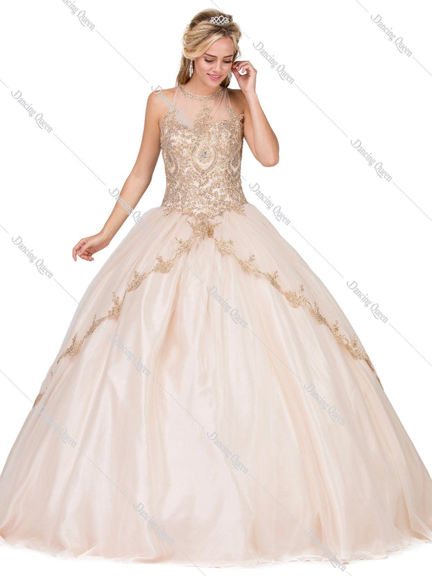 Illusion High-Neck Ball Gown with Appliques by Dancing Queen 1326-Quinceanera Dresses-ABC Fashion