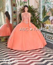Illusion High-Neck Quinceanera Dress by Forever Quince FQ801-Quinceanera Dresses-ABC Fashion
