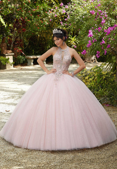 Illusion High-Neck Quinceanera Dress by Mori Lee Valencia 60125