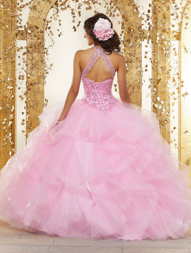 Illusion High Neck Quinceanera Dress by Mori Lee Vizcaya 89230-Quinceanera Dresses-ABC Fashion