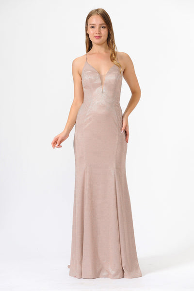Illusion Inset V-Neck Open Back Long Glitter Dress by Poly USA 8494-Long Formal Dresses-ABC Fashion