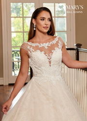 Illusion Lace Applique Wedding Dress by Mary's Bridal MB6058-Wedding Dresses-ABC Fashion