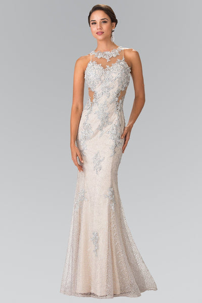 Illusion Mermaid Dress with Lace Embroidery by Elizabeth K GL2220-Long Formal Dresses-ABC Fashion