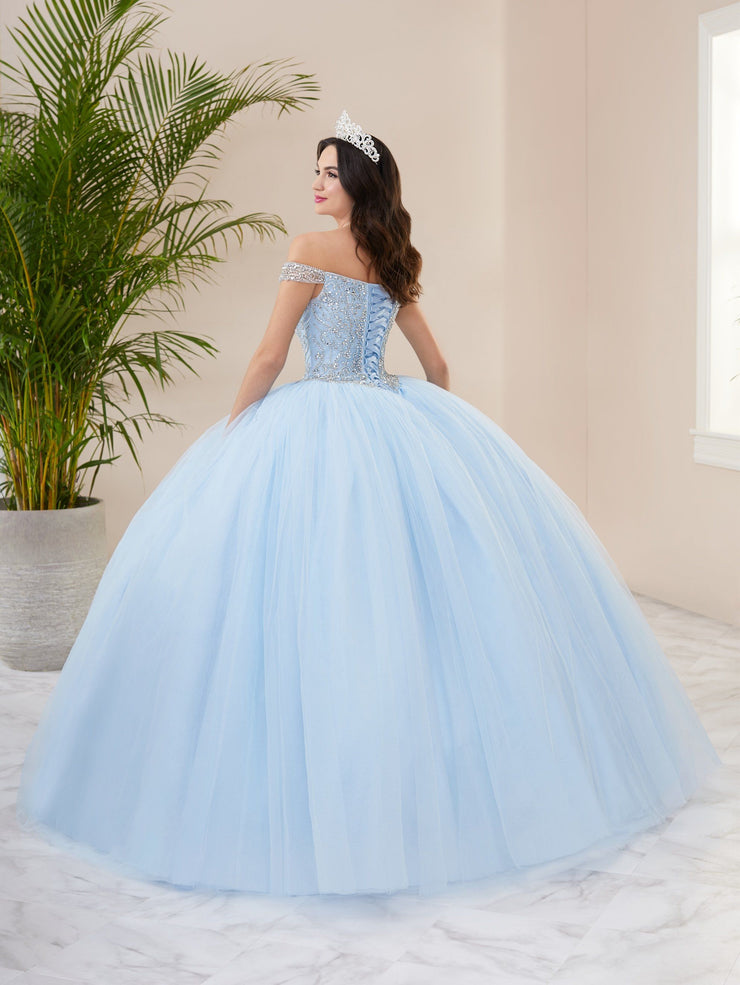 Illusion Off Shoulder Quinceanera Dress by Fiesta Gowns 56402 (Size 18 - 26)