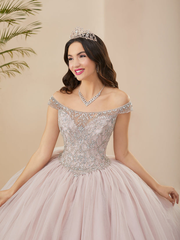 Illusion Off Shoulder Quinceanera Dress by Fiesta Gowns 56402 (Size 28 - 30)
