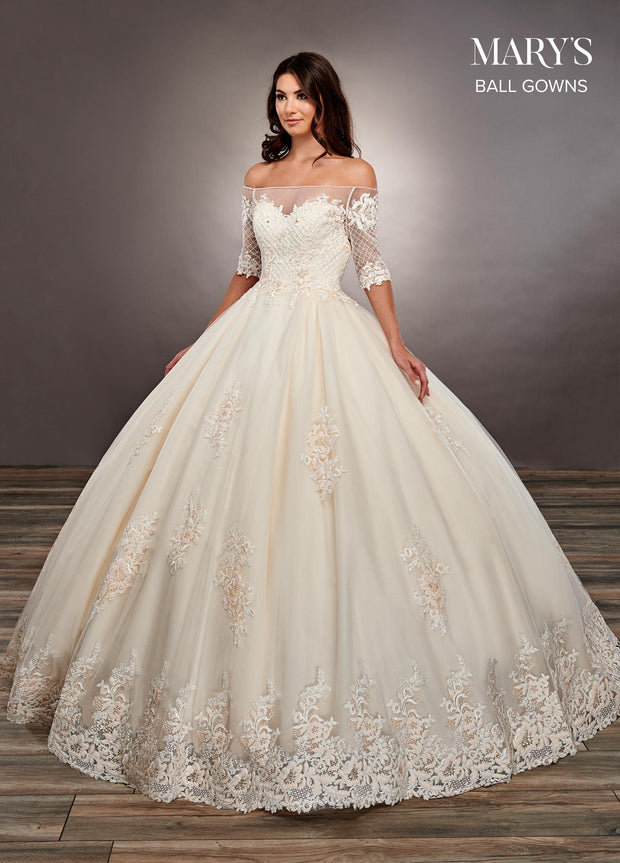 Illusion Off the Shoulder Wedding Dress by Mary's Bridal MB6060-Wedding Dresses-ABC Fashion