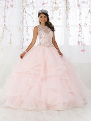 Illusion Ruffled Quinceanera Dress by Fiesta Gowns 56367 (Size 12 - 22)-Quinceanera Dresses-ABC Fashion