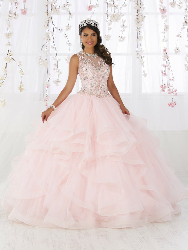 Illusion Ruffled Quinceanera Dress by Fiesta Gowns 56367 (Size 24 - 30)-Quinceanera Dresses-ABC Fashion