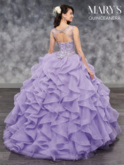 Illusion Ruffled Quinceanera Dress by Mary's Bridal MQ2035-Quinceanera Dresses-ABC Fashion